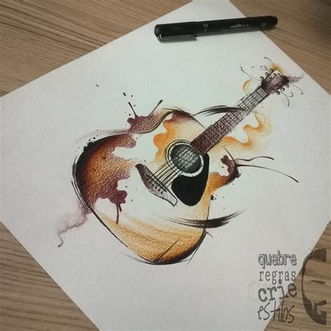 watercolor tattoo guitar by jo 227 o victor martins at brazil i would to get