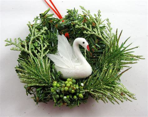 swan swimming christmas ornament 208
