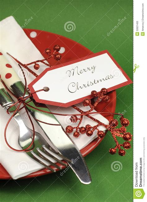 red  green merry christmas dinner table place setting vertical closeup stock photo image