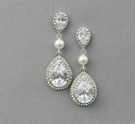 bridal teardrop drop earrings wedding by lavenderbyjurgita