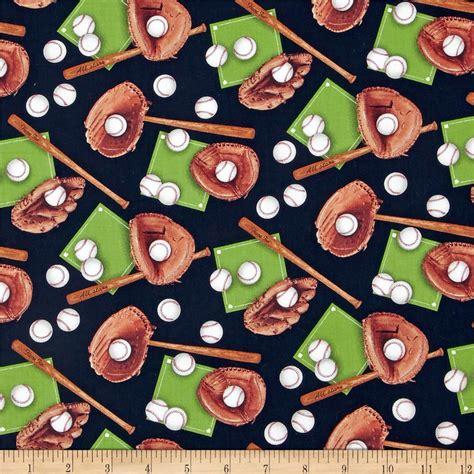 Baseball Quilt Fabric by Sports Baseball Black Discount Designer Fabric Fabric