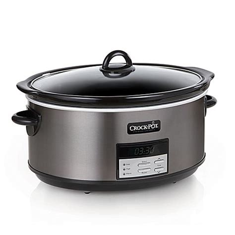slow cooker bed bath and beyond crock pot 174 8 qt programmable slow cooker in black