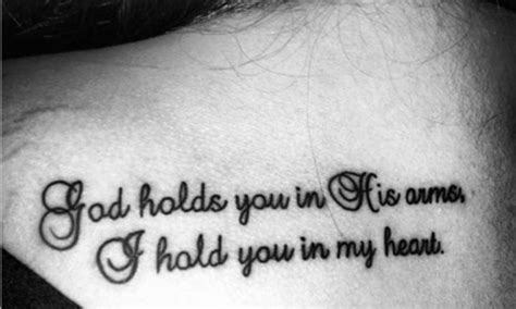 miscarriage wording tattoo god holds you in his arms i
