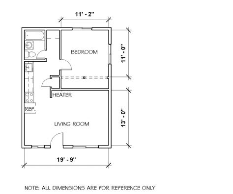 small 1 bedroom cottage floor plans and elevation by luxamcc