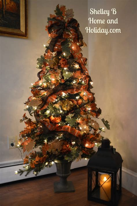 thanksgiving decorated christmas tree shelley b home and