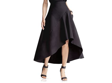 faille high low skirt in black lyst