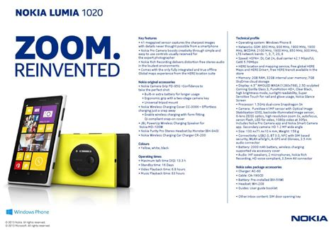 nokia lumia 1020 specifications nokia lumia 1020 official specs sheet leaked thepockettech