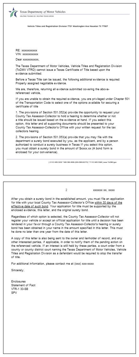 Appraisal Rejection Letter auto title bonds auto title bond bonded car