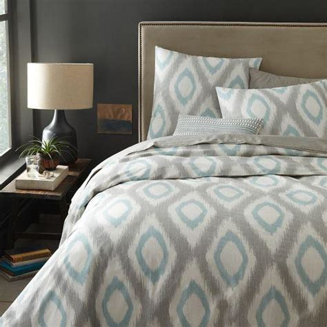 blue gray bedding organic ikat grey and blue diamond duvet cover and shams