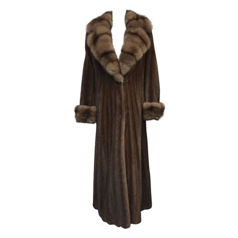 brown swing coat luxurious brown mink long swing coat with sable collar and