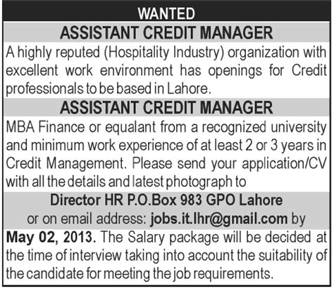 Mba In Pakistan Salary by Assistant Credit Manager In Lahore Pakistan May 2