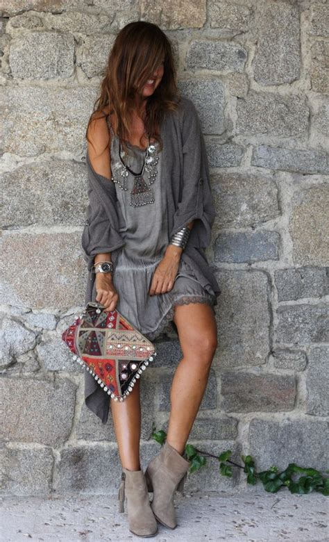 Wst 7268 Ethnic Dress Brown how to look boho chic 2018 fashiongum