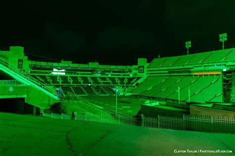 razorback lights lights at razorback stadium cast eerie green glow