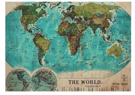 vintage world map rug  places