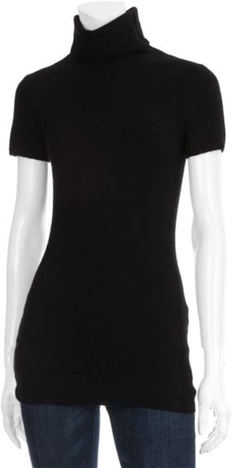 scoop short sleeve turtleneck sweater  black lyst