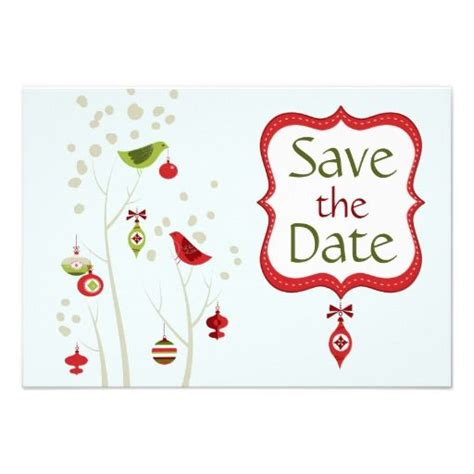 christmas winter birds wedding save the date