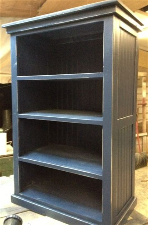 bookcase navy blue distressed shabby cottage by