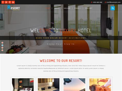 free bootstrap templates for resorts resort free bootstrap hotel template freemium download