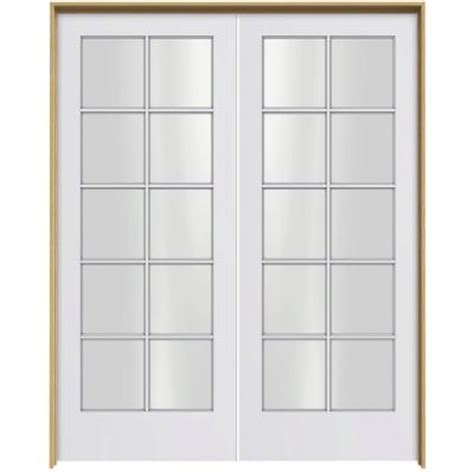home depot double doors interior jeld wen smooth 10 lite primed pine prehung interior french double door with pine jamb