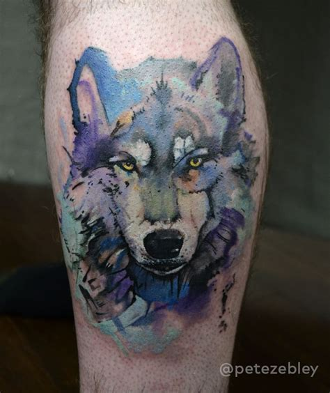 watercolor tattoos pennsylvania watercolor wolf by pete zebley in philadelphia pa