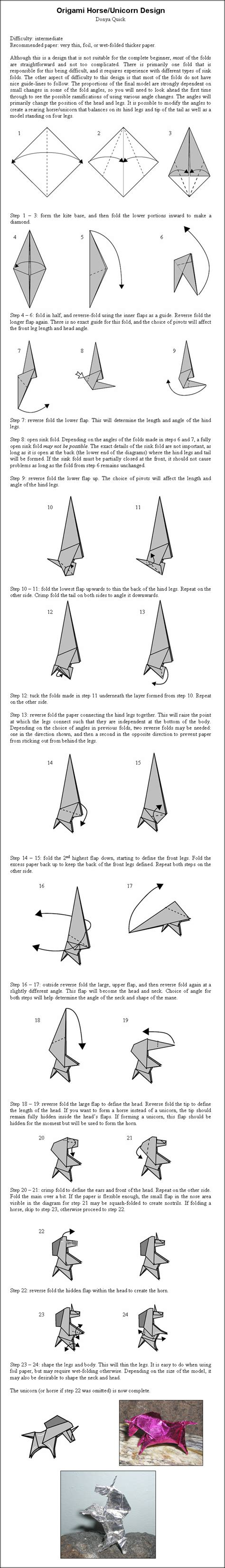 How To Make An Origami Unicorn - origami unicorn by donyaquick on deviantart