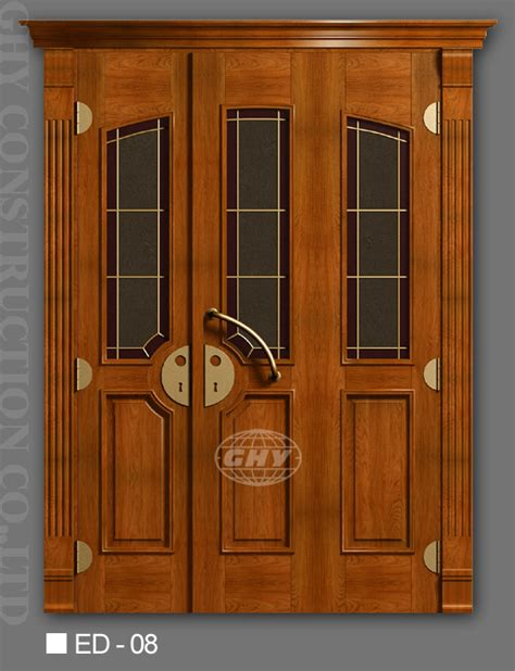 Exterior Hardwood Door Exterior Solid Wood Doors Wooden Cherry Oak Maple Walnut Mahogany China