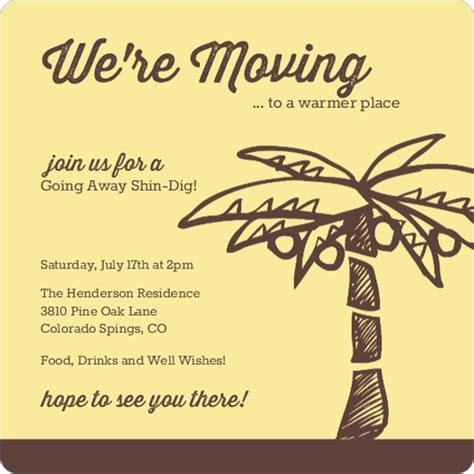 moving away card template yellow and brown palm tree going away invitation going