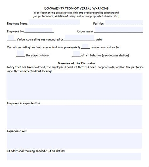 Employment Warning Letter Uk Sle Verbal Warning Template 5 Documents In Pdf