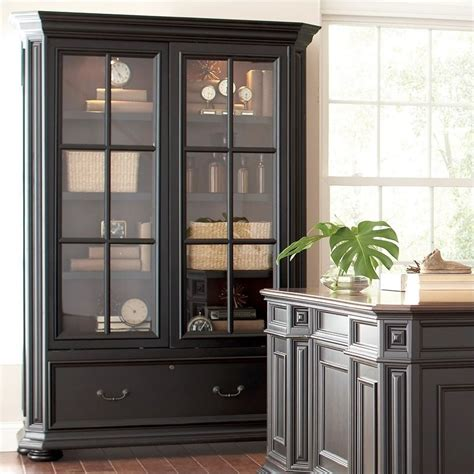Bookshelf With Sliding Doors riverside furniture allegro sliding door bookcase in rubbed black 44734