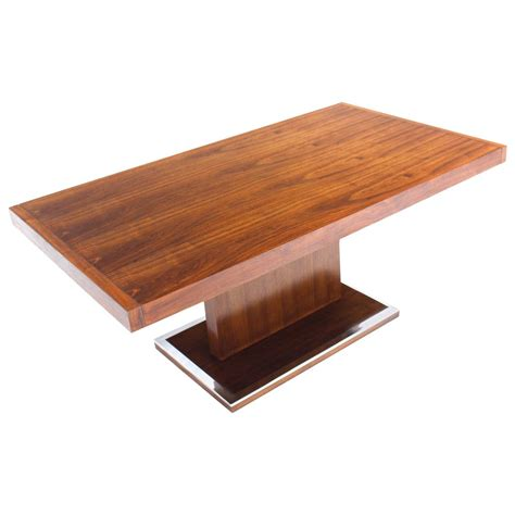 dining room table pedestal mid century modern rectangular pedestal base walnut dining