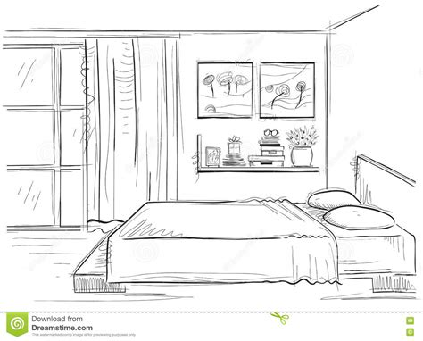 Schlafzimmer Zeichnen by Bedroom Interior Vector Drawing Modern Home