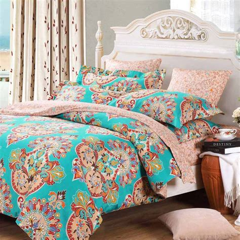 tribal bedding set teal blue pink and red baroque style bohemian chic tribal