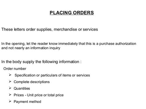Placing Purchase Order Letter News Business Communication