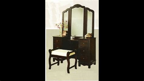 Large Bedroom Vanity 3 Pc Espresso Finish Wood Large Size Bedroom Make Up Vanity Set With Tri Fold