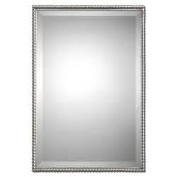 brushed nickel framed bathroom mirror brushed nickel sherise rectangle mirror uttermost