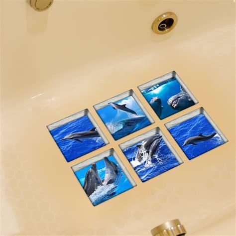 anti slip bathtub stickers pag 6pcs 13x13cm dolphin pattern 3d anti slip waterproof