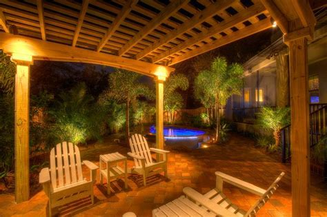Landscape Lighting with Pergola   Traditional   Patio