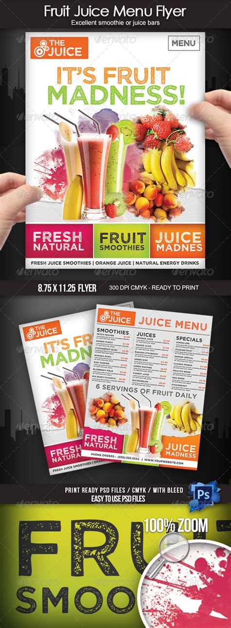 juice menu card templates fruit juice menu flyer by boca2600 graphicriver