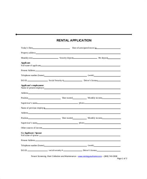 apartment application form template sle apartment application form 7 exles in word pdf