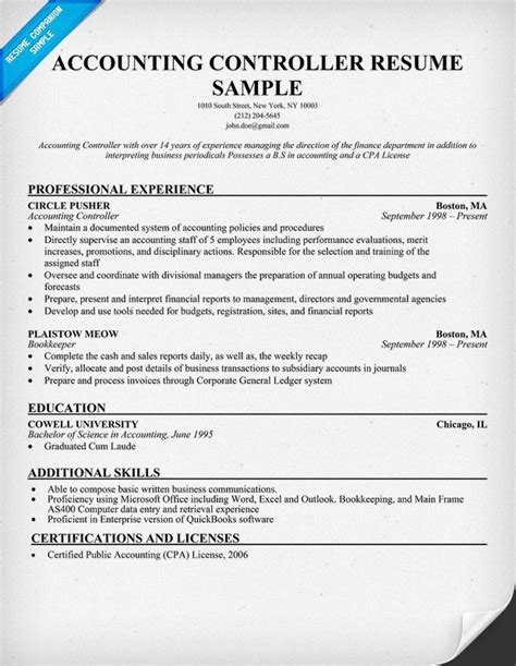 financial accounting resume sles accounting controller resume resumecompanion
