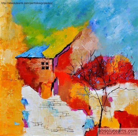 house painting art pol ledent artwork abstract house and tree original