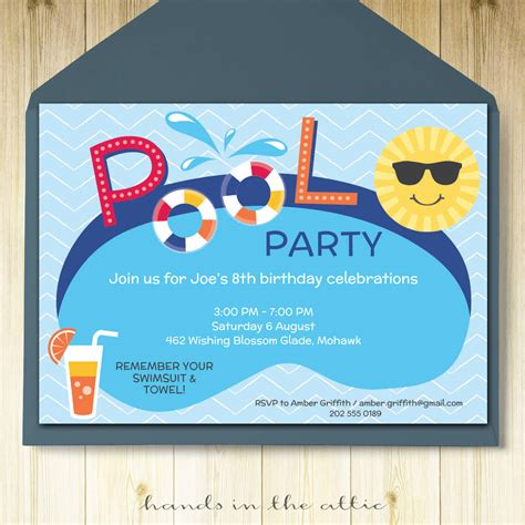 free printable pool party invites 104 days of summer vacation