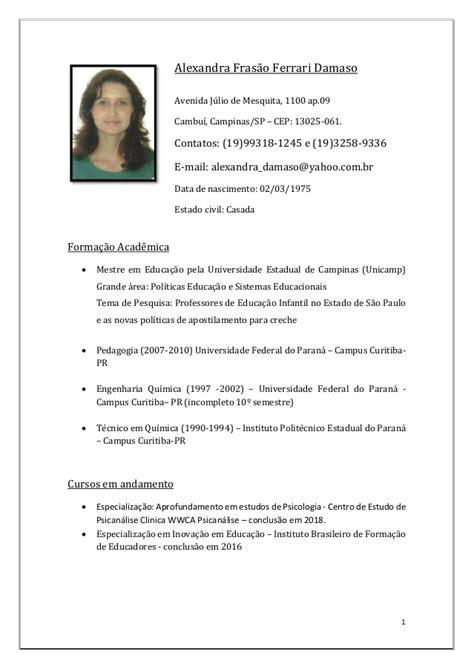 Modelo Curriculum Vitae Profesor Curriculum Vitae Alexandra Damaso