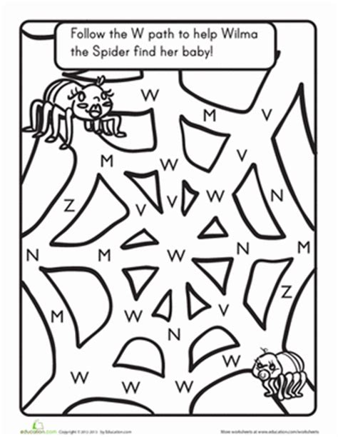 W Is For Web Coloring Page by The Letter W A Maze Worksheet Education