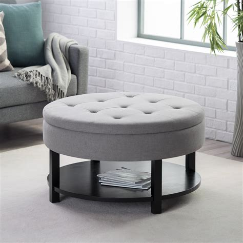 round storage ottoman with tray ottoman with storage and tray affordable danbury light