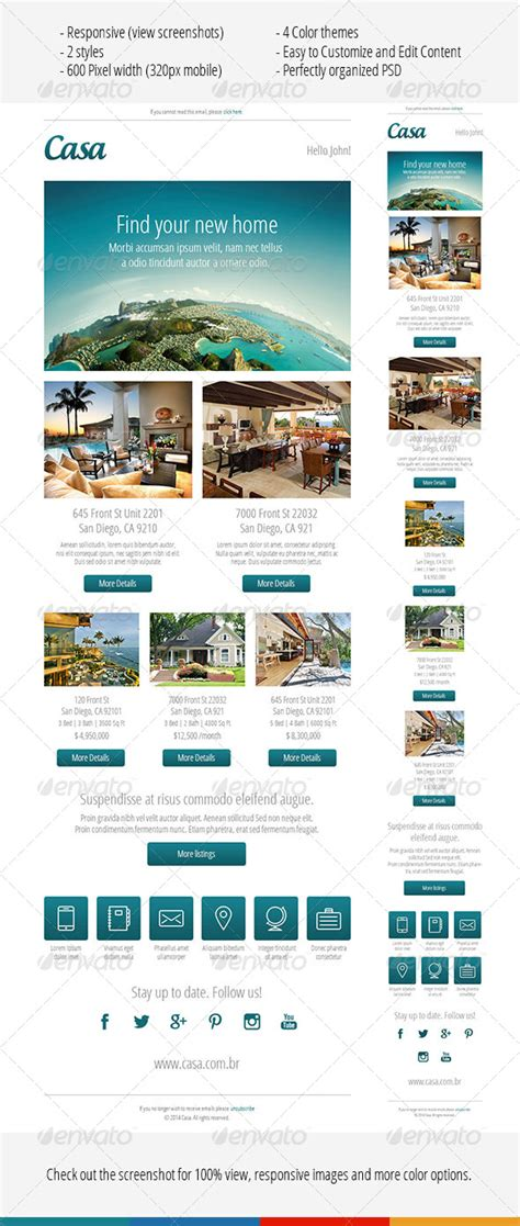 newsletter responsive template casa responsive email template by albertojesus graphicriver