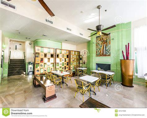 Deco Miami Style Lobby Of The Deco Style Colony Hotel In Miami