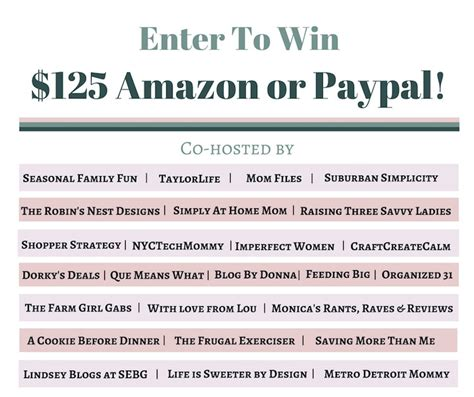 Enter To Win Giveaway - win 125 00 amazon or paypal giveaway a cookie before dinner
