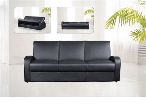 Three Seater Leather Sofa Bed Faux Leather 3 Seater Sofa Bed Black Brown Homegenies