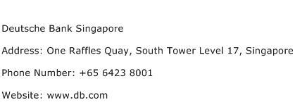 Singapore Phone Number Search Address Deutsche Bank Singapore Address Contact Number Of